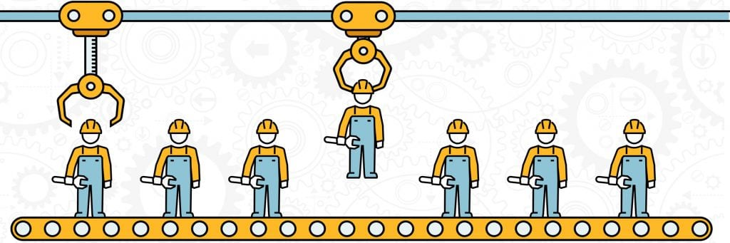 Construction workers on conveyer belt being picked up by a robot arm