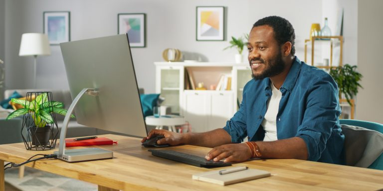 remote employee participating in water cooler video chat